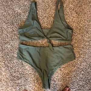 Olive green SHEIN curve bikini